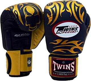 Twins Special Muay Thai Boxing Gloves BGVLA 2 Air Flow Gloves. Univesal Gloves for Training or Sparring. (Skull Black/Gold, 12 oz)