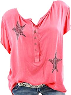 Han Shi Womens Hot Drill Star Print Short Sleeve T Shirt Button Front V Neck Blouse Top