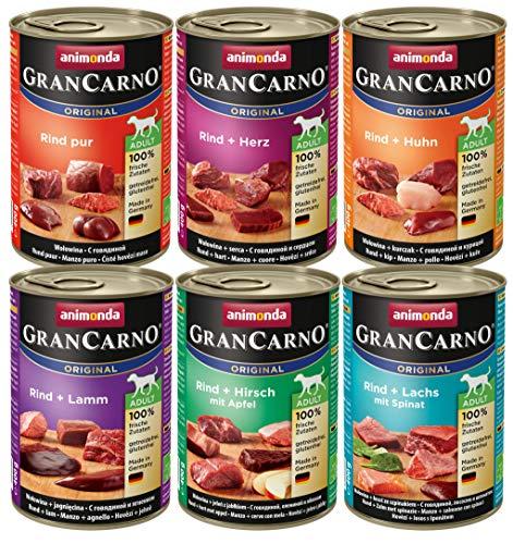 Animonda Gran Carno Hondenvoer, Natvoer, voor Volwassenen Honden, Verschillende Smaken Mix, 6 x 400 g