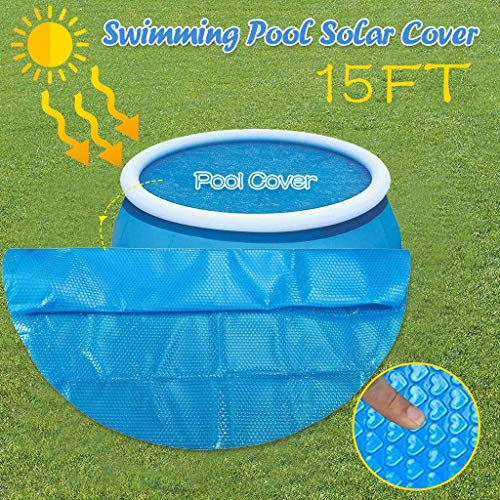 solar cover for above ground pool, Easy Set Pool Cover for 6/8/10/12/15ft Diameter, Swimming Pool Solar Cover, Dust-Proof Cover , Large Size Rainproof Dust Hot Tub Cover (15inch(450x450cm))