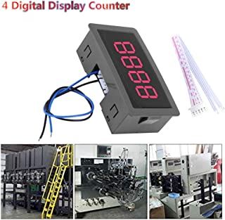 4 Digital Display Counter with Cable, DC 8-24V LED Display Digital Tally Counter,0-9999 Up/Down Plus/Minus Panel Counter Meter,for Automation Equipment ,Test Eequipments, etc. (Red)