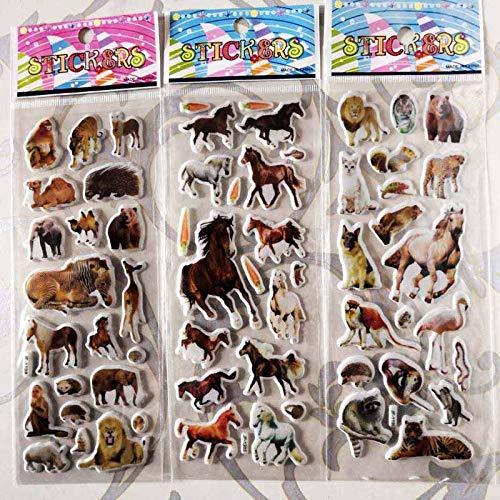 PMSMT Pegatinas de Pared de Animales, 3 Hojas/Juego, Vinilo de Bricolaje, Mini Pegatinas de Burbujas para jardín de Infantes, jardín de Infantes