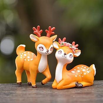 2Pcs Animal Dollhouse Deer Ornament Toys Resin Miniature Planter Home Decor