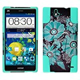 for ZTE Grand X Max Z787 / X Max+ Z987 /ITUFFY 2 Items Combo: Stylus Pen + Dual Layer Impact Resistance Armor Plastic Cover Soft Rubber Silicone Kickstand Case (Paisley Sun Flower - Mint Blue)