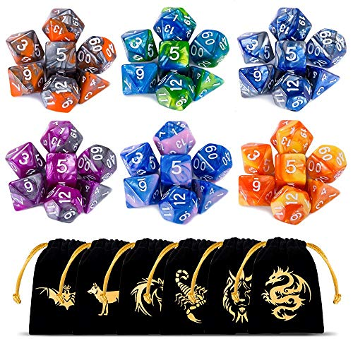 CiaraQ DND Dice Set Polyhedral Dice Set (42 Pcs) with 6 Gold Pattern Drawstring Pouches. Great for Dungeons and Dragons RPG MTG Table Games. 6 X 7 Double-Colors Dice Sets (D4 D6 D8 D10 D% D12 D20 )