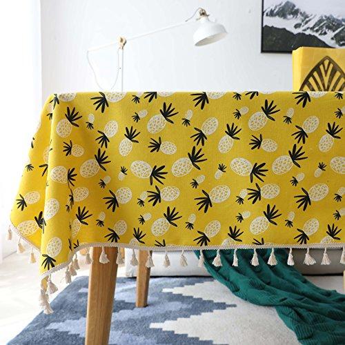 YCZZ tafelkleed, rechthoekig, van Scandinavisch katoenen linnen, klein tafelkleed, laag, vierkant, frisse ananas