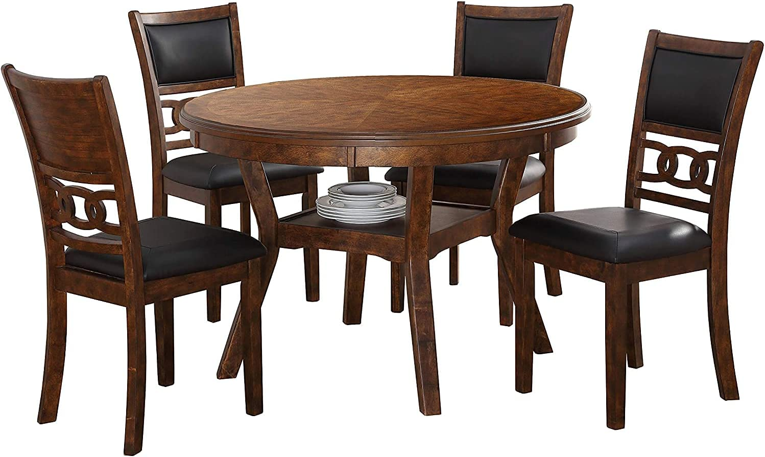 New Classic Furniture Gia 5-Piece Round Set with 1 Dining Table and 4 Chairs, 47