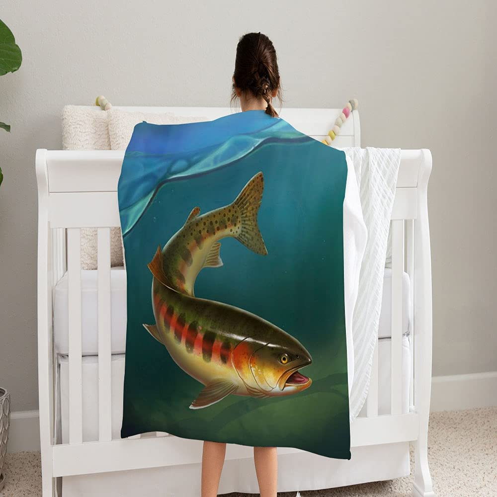 LPVLUX Rainbow Trout Don't miss the campaign Fish On NEW before selling ☆ White Background Blanket Super Sof