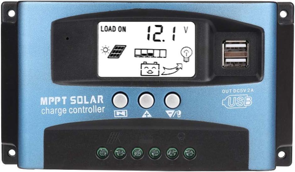 Controlador de carga MPPT Placa de circuito P-CB Controlador de panel solar doble USB 12V / 24V Pantalla LCD Controlador automático de batería 40/50/60 / 100A(50A) for cargador panel solar 400w,regula