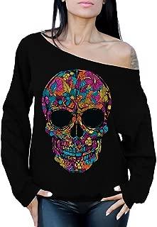 Black Flower Sugar Skull Day of Dead Off Shoulder Sweatshirt