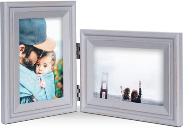 Vertical Horizontal Combo Double 4x6 Grey Painted Wood Hinge Picture Frame Portrait And Landscape View Photo Decorate Desktop Or Wall Hanging