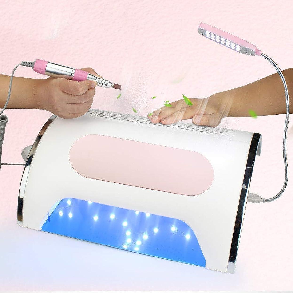 プレゼント容疑者宿題をする72 W 3 in 1多機能マニキュアアートツール、ネイルドライヤー、電動ネイルドリルマシン、LED照明機能付きジェルポーランドサロン家庭用,Pink