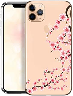 Cover Compatible with iPhone 11 Pro Max Case Transparent Slim Thin Bumper Silicone Protective Bumper with Design Rose Flowers