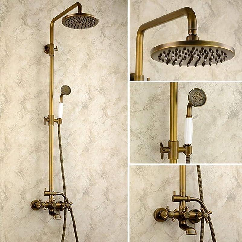 岸アセンブリプロポーショナルYASE-king ヨーロッパのアンティーク銅の浴室のシャワーセット3つの機能ハンドシャワーブロンズレトロな過給システムリフトレバーの蛇口サーキュラートップで固定シャワーヘッドスプレー