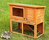 Gona Kaninchenstall 2-stöckiges, Käfig Hinterhof Garten Duplex Haus, geeignet für Kleintiere und Haustiere, mit geneigtem wetterfestem Dach, Rampe, Tablett, Wasserflaschensicherung