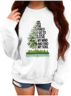 LEKODE Sweatshirt Women's Warm Crewneck Printed Casual