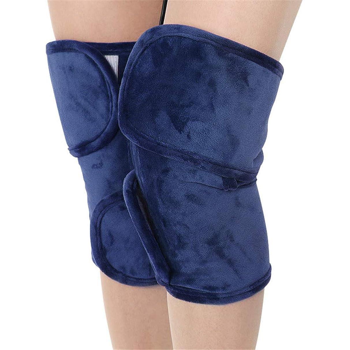 組み込むれる飼料レッグマッサージャー、加熱されたデュアルカーフとフット&ニーパッドヒートセラピーホットコンプレッションウォームジョイントリリーフ膝の硬直の痛み、関節炎 (Color : Blue)