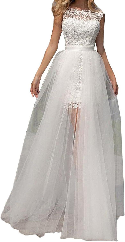 Tianshikeer Hochzeitskleid Kurz Spitze T/üll 3//4 Arm Knielang Brautkleider
