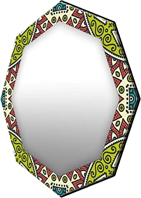 999Store Printed Green and red Floral Pattern Octagon Mirror (MDF_17X17 Inch_Multi)