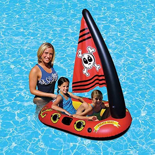 Aufblasbare Schwimmspielzeug Piratenboot Schwimmbad Float Mit Fußpumpe Für Kinder Kind Kind Pool Float Bett Piratenschiff Wasserspielzeug