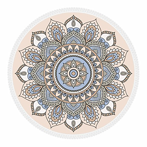 Olli Toalla de Playa, Redonda con Flecos, 100% Microfibra, Made in Italy - Eco Friendly, Multiusos Grande, 156 cm, Multicolor - Patrón: Multi Dubai Beige