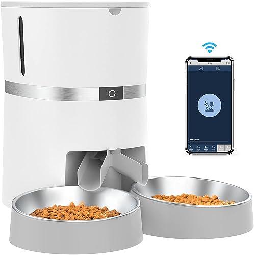 2.4G WiFi Comedero Automático para Gatos y Perros & Múltiples Mascotas,Dispensador de Comida con Control Remoto de Ap...