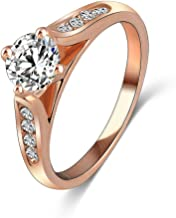 LuckyWeng New Exquisite Fashion Jewelry Rose Gold Austrian Crystal Diamond Zircon Ring
