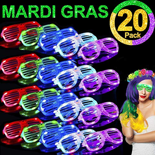 TURNMEON 20 Pack LED Glasses,Light Up Glasses Glow In The Dark Mardi Gras Party Favors Supplies for Adults Kids,St.Patrick's Day Glow Glasses Party Sunglasses Carnival Neon Party Favors Birthday