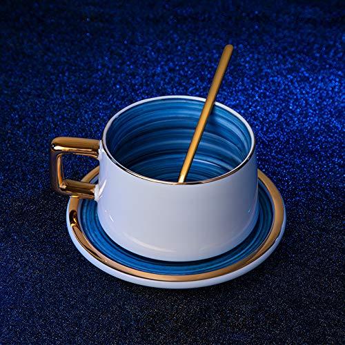 HRDZ Taza de café de Lujo Ligera Taza pequeña de cerámica de Lujo pequeño Traje Exquisito Taza y platillo de Sala de Estar en casa