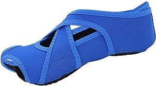 Tbest, Zapatillas Calcetines de Yoga Antideslizantes, Calcetines de Pilates de Yoga con Dedos de Pies Zapatillas de Entrenamiento de Baile con Empuñaduras para Pilates Ballet Hombres Mujeres