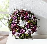 Deko Kranz'Lila Rose' aus Naturmaterialien und Textilblüten, Hochzeitsdeko, Tischkranz, Wandkranz