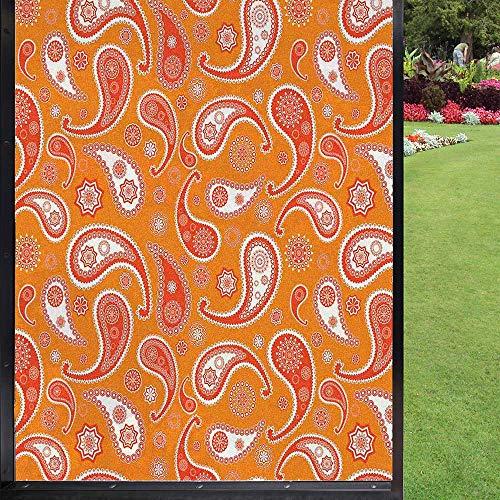 Burnt Orange folia okienna dekoracja kuchni, prywatność folia okienna statyczna, pomarańczowa biała 60 x 90 cm