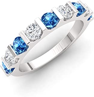 Diamondere Natural and Certified Gemstone and Diamond Wedding Ring in 14K White Gold | 0.96 Carat Half Eternity Stackable ...