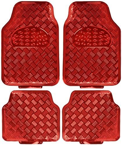 Alfombrillas Universales para Vehículos, Alfombrillas de Goma para Coche con Diseño Metálico, 4 Unidades (Rojo, 4 Piezas)