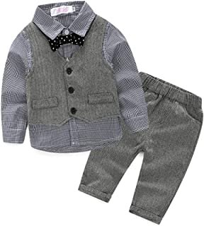 Baby Boy Gentleman Suit Vest +Shirt +Pants 3PC Clothes Outfit Set