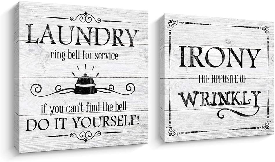 Laundry Room Rules Sign Rustic Woodgrain Background Canvas Prints Art Wall Decor (12