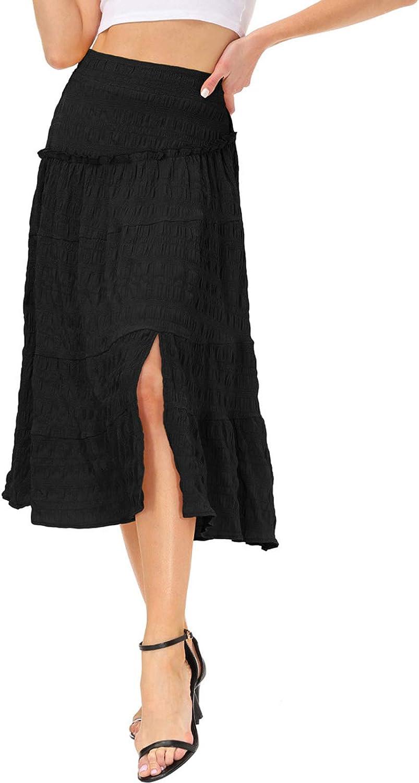 Women's Casual High Waist Boho Skirt Tiered Skirt Side Split A-line Midi Skirt S-2XL