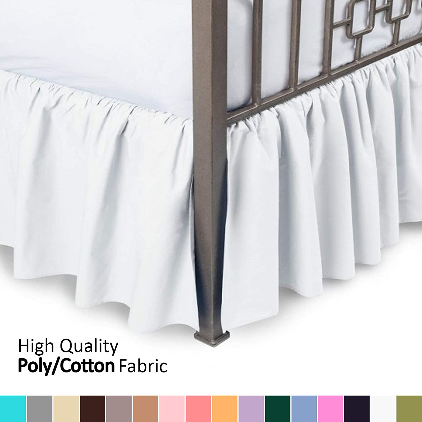 Ruffled Bed Skirt with Split Corners - Twin, White, 21 Inch Drop Bedskirt (Available in and 16 Colors) Dust Ruffle.