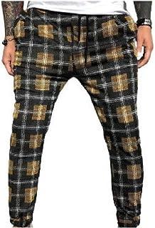 KaWaYi Mens Trim-Fit Plaid Stretchy With Pocket Splicing Drawstring Harem Pants