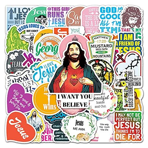 XIAMU Pegatina de graffiti inglés con personalidad Cristo para ordenador portátil, scooter de coche, nevera, teléfono móvil, 50 hojas