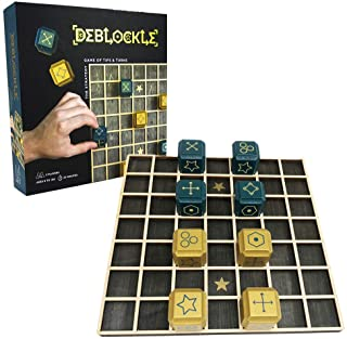 Project Genius SG001 Deblockle Strategy Board Game | 2 Player Table Game, Room Décor, for Chess Players & Strategy Gamers, Stained Wood.