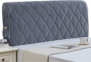 Flannel Headboard Cover Bed Head Cover Side Elasticity All-Inclusive Protection Backrest Dust Covers (Color : Gray, Size :...