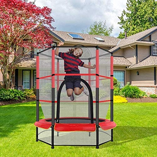 YAOJIA Fitness Trampolines 5Ft Kids Trampoline With Protective Net Jumping Mat And Spring Cover Mat, Indoor For Children Aged 1-6 Easy To Assemble 55In Kids Enclosure Safety Pad Toddler