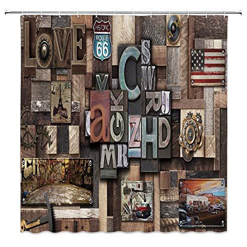 Rustikaler Duschvorhang, Retro, Landhausstil, Holzscheune, schick, 3D-Buchstaben, einzigartige Gedenkschilder, Wanddekoration, Badezimmer-Dekor-Set mit Haken, 180 x 180 cm, Polyester, Braun