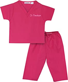 Scoots Scrubs - Personalized Scrubs for Baby and Children - Your Child's Name Embroidered on Pink, Blue, or Green Scrubs