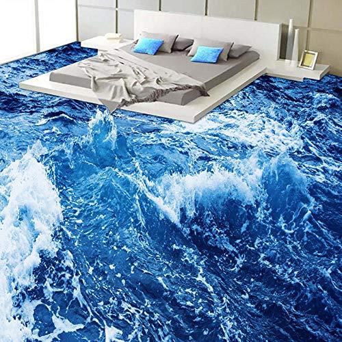 Moderno Minimalista Agua de mar 3D Suelo Mural Papel tapiz Baño Desgaste Antideslizante Impermeable Engrosado Papel de pared de vinilo autoadhesivo-300 * 210cm