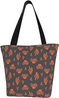 Lesif Einkaufstaschen, unter dem Meer, Korallen, dunkelgrau, Segeltuch, Einkaufstasche, wiederverwendbar, faltbar, Reisetasche, groß und langlebig, robuste Einkaufstaschen