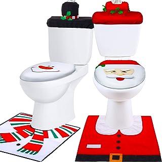 Tatuo 6 Piezas de Decoraciones Funda de Asiento de Inodoro de Navidad, Juego de Funda y Alfombra de Asiento de Inodoro de Papá Noel Monigote de Nieve Rojo Decoraciones de Navidad Baño