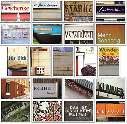 tom bäcker Postkarten Set - Karten Konvolut - 21 Stück schöne Sprache - Worte - Sprüche - Deko - Herz - Leben - Humor - Typografie - Liebe - Wetter - Kuchen