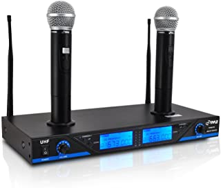 Pyle 16 Channel Wireless Microphone System - Portable UHF Digital Audio Mic Set with 2 Handheld Dynamic Mic, Receiver, Dual Detachable Antenna, Power Adapter - For Karaoke, PA, DJ Party - Pyle Pro PDWM2560
